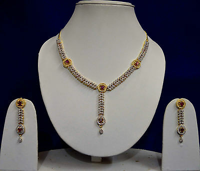 Indian Costume Jewellery Ruby Gold Silver Finish AD Necklace Earrings Sets 2059