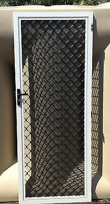 Security Door - White Frame with Black Grille - W 820mm x H 2060mm
