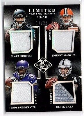 2014 Panini Limited,Limited Partnerships,Quad Materials,(Prime),12/25,Derek Carr