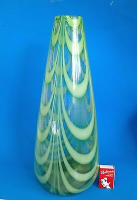 Tall Conical Art Glass Vase - Green Swirls - Recycled Glass - 41cm Tall