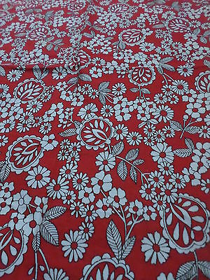 Retro Red and White Floral Cotton  Fabric...