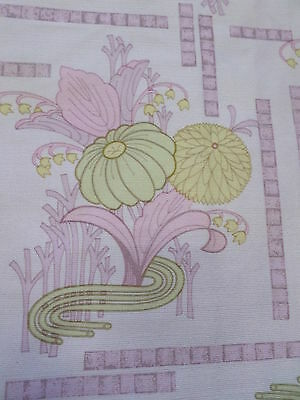 Retro Vintage Purple And Pink Floral Nylon Fabric....NEW