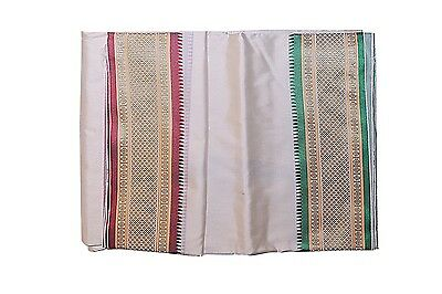 Cream Dhoti With Shawl In Pure Silk With Golden Border Red & Green
