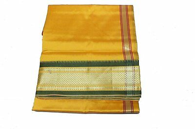Yellow Dhoti With Shawl In Pure Silk With Golden Border