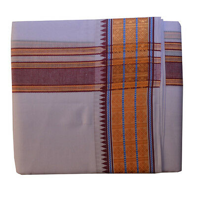 White Dhoti With Shawl In Pure Cotton #5