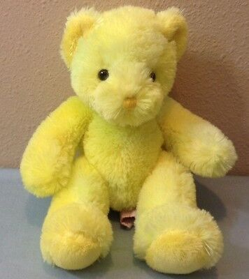 Rare HTF Russ Berrie Plush Bear Zola with Yellow Orange And Green Blended Fur