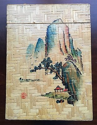 Vintage Chinese Wooden Bamboo Hand painted Tea Caddy/Box W/Chinese Art
