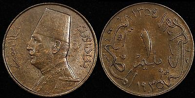 EGYPT 1 Millieme, 1935 AH 1354, King Fuad, Lovely Brown UNC