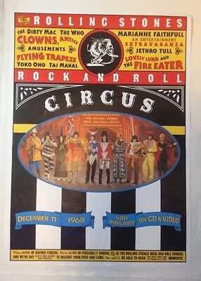 POSTER - THE ROLLING STONES Rock And Roll Circus Cd & Video Original 80s Poster