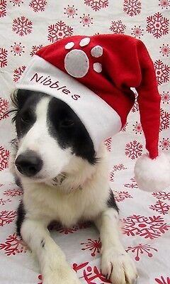 Dogs Personalised Christmas Santa Hat Handmade and embroidered  by Mrs Nibbles