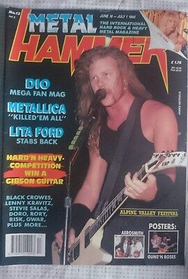 Metal Hammer N° 13 1990 Uk Magazine Metallica Dio Lita Ford Poster Guns Roses