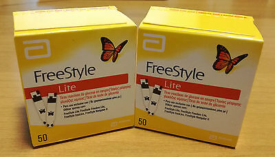FREESTYLE LITE BLOOD GLUCOSE TEST STRIPS - NO CODING - 100 strips (2 boxes)