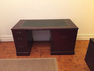 Antique style writing desk with leather insert