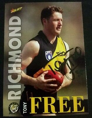 Tony free personally signed select 1996 afl card Richmond tigers