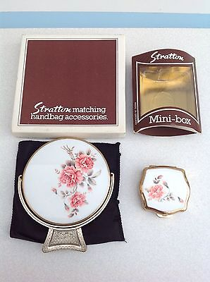 Vintage Stratton Compact Mirror & Pill Box Pink Roses