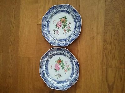 Rare Pair Chinese Qianlong 1736-95 Antiques Blue & White Famille Rose Plate -02#