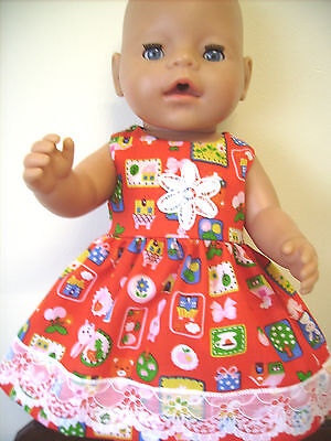 """Dolls Clothes 17"""" Baby Born Red Dress, Rabbits, Houses & White lace."""