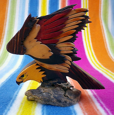 Vintage Italian Stained Wooden Eagle Sculpture Signed