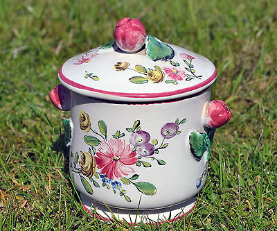 Antique Veuve Perrin French majolica pot and cover