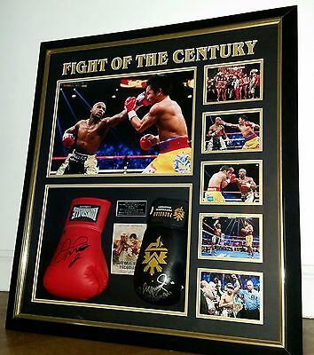 Floyd Mayweather and Manny Pacquiao Signed GLOVES Autograph LUXURY Display