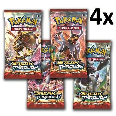 XY BREAKThrough Booster Pack - 4x 10 Card Sealed Pack - Pokemon Cards TCG