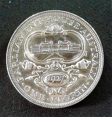 1927 Australian SILVER Florin (2/-) 'Canberra' in UNCIRCULATED condition