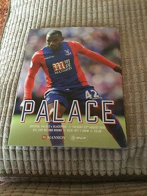 Crystal Palace v Blackpool programme EFL cup 2nd round 23 August 2016