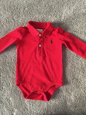 Designer Ralph Lauren Baby Boy Red Polo Shirt - 9 Months