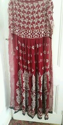 Heavy embroidered Maroon semi stitched chudidar anarkali suit/Stonework/indian