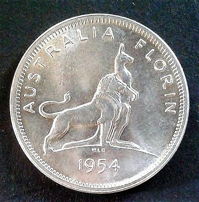 1954 Australian SILVER Florin (2/-) 'Royal Visit' in UNCIRCULATED condition.