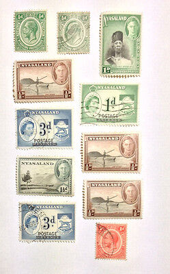 Nyasaland 11 mint/used stamps including 3 overprints.