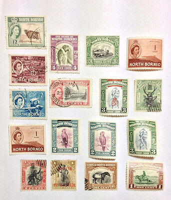 North Borneo 17 mint/used stamps with a few overprints.