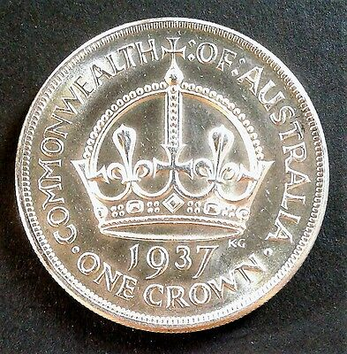 1937 Australian SILVER Crown (5/-) - UNCIRCULATED