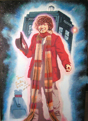 TOM BAKER DR WHO Painting, AUTOGRAPHED by Him - photo proof of signing