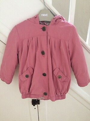18-24m 1.5- 2 yrs Years Girls Next Pink Hooded Fleece Coat