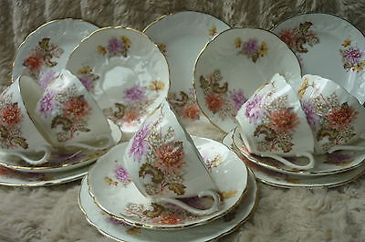 VINTAGE ENGLISH CHINA FLORAL EMBOSSED CHRYSANTHEMUM  5 TRIOS cups saucers plates