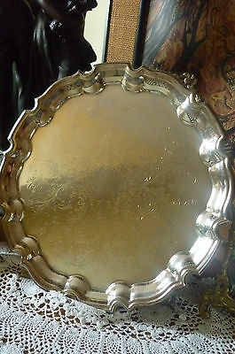 Vintage Cavalier Silver Plated Engraved Drinks Tray Salver Chippendale Style