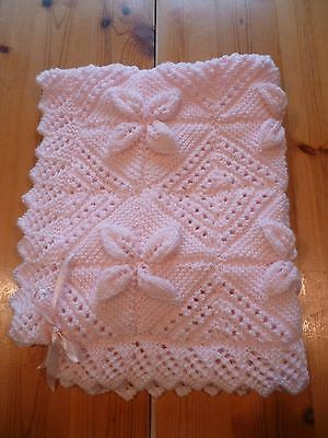 Lovely Hand Knitted Girls Cot or Pram Blanket in Baby Pink Wool New