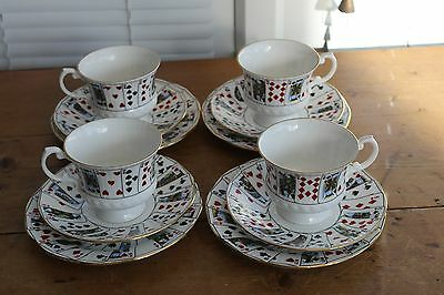 VINTAGE QUEENS CUT FOR COFFEE CUP AND SAUCER TRIOS x 4