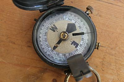 Antique Military Marching Compass Wwi Wwii & Leather Pouch Case