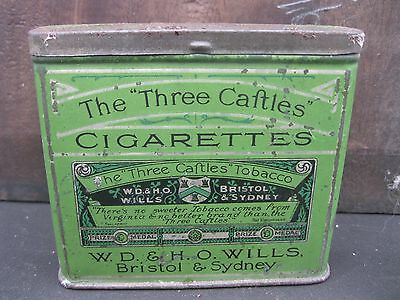 "The ""three Caftles  Cigarette Flip Top Tin"