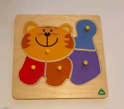 Wooden Cartoon Cat Blocks Toddler Baby Kids Children Educational Toy Puzzle