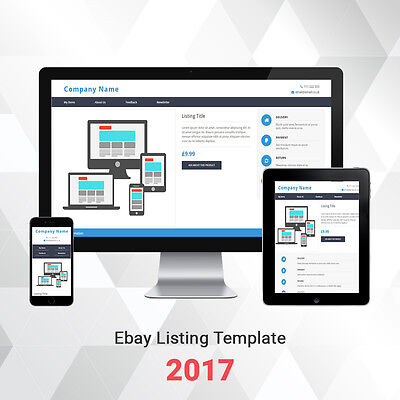 Listing Template for Ebay 2017 Reponsive Auction Design | Blue