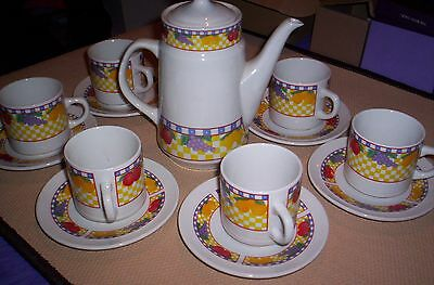 14 Piece TeaSet. : Lovely Fruit Pictures :  Tea Pot, 6 Cup's and 6 Saucer's