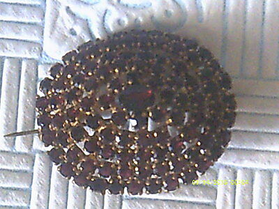 Antique/vintage Large Garnets Layered Brooch,open Backed Claw Set Stones.