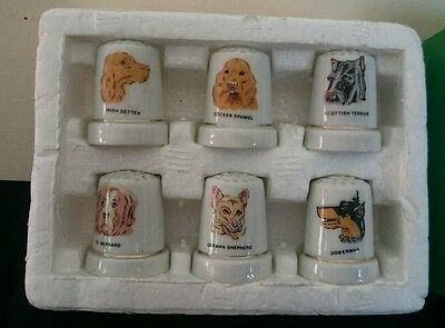 Set of 6 thimbles with different dog designs