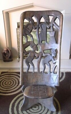 Antique HARDWOOD  Hand Carved AFRICAN Tribal Birthing CHAIR Folding Seat SUPERB