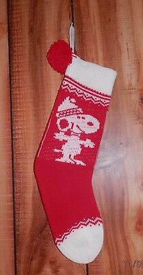 Vintage 1958 Hallmark Snoopy Knitted Christmas Stocking With Huge Red Pom Pom