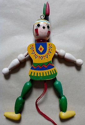 Vintage Wooden Indian Pull String Toy Puppet Ornament (O/s)
