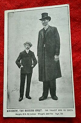 Machnow, The Russian Giant, Tallest Man on Earth. Vintage Postcard,